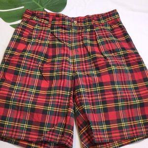 🐎Vintage Polo Tartan Plaid Cotton Shorts 34 USA